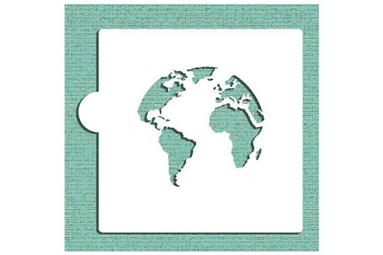 World Map (Globe) Cookie Stencil by Designer Stencils