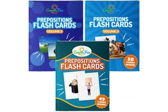 (Bundle) - CreateFun Prepositions Flash Card Bundle Vol 1, 2 & 3 - 150 Educational Photo Cards with Learning Games - for Speech Therapy Materials, English Language Learning, Adults, ESL Teaching Materials