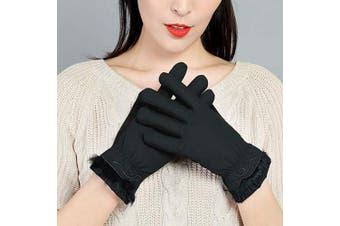 (Women Touch Gloves Black 2) - A-MORE Women Winter Gloves,Warm Gloves Touchscreen Gloves Thick Windproof Women's Warmer Winter Gloves Skiing Outdoor Sports