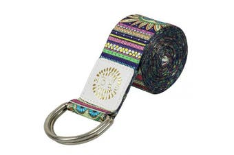 (2.4m, Indian with a container tin) - YANSYI Yoga Strap (1.8m, 2.4m), Eco-Printed Durable Premium Fabric Exercise Straps w/Adjustable D-Ring Buckle for Stretching, General Fitness, Flexibility and Physical Therapy