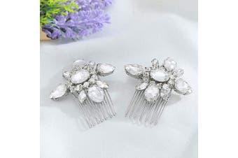(Silver) - Asooll Wedding Crystal Hair Comb Bride Rhinestone Hair Pieces Bridal Hair Accessories for Women and Girls 2Pcs (Silver)
