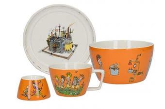 Roald Dahl CHARLIE AND THE CHOCOLATE FACTORY Children's Stackable Ceramic Breakfast Set - Orange (4 Pieces)