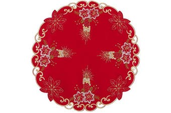 (round 41cm  (set of 4)) - Grelucgo Embroidered Christmas Holiday Round 41cm Doilies Place-mats Set of 4, Dining Table Centrepieces