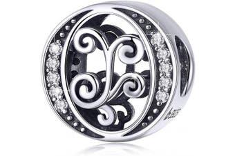 (Letter O) - BAMOER Letter Beads Initial A-Z Alphabet Charms for European Bracelets