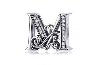 (Letter M) - BAMOER Letter Beads Initial A-Z Alphabet Charms for European Bracelets