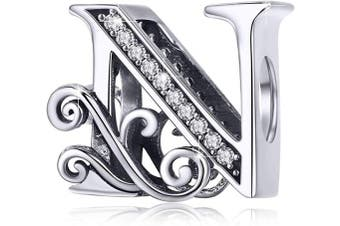 (Letter N) - BAMOER Letter Beads Initial A-Z Alphabet Charms for European Bracelets