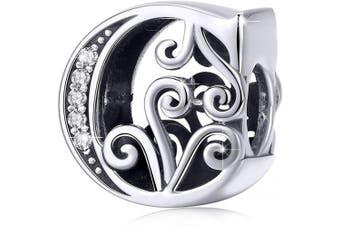 (Letter C) - BAMOER Letter Beads Initial A-Z Alphabet Charms for European Bracelets