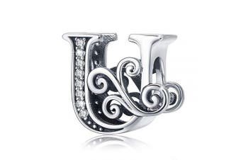 (Letter U) - BAMOER Letter Beads Initial A-Z Alphabet Charms for European Bracelets