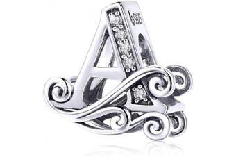 (Letter a) - BAMOER Letter Beads Initial A-Z Alphabet Charms for European Bracelets