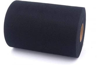 (Black) - Tulle Fabric Rolls 15cm by 100 Yards (90m) Tulle Spool for Wedding Party Decorations Gift Bow Craft Tutu Skirt (Black)