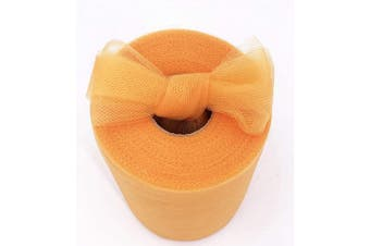 (Orange) - Tulle Fabric Rolls 15cm by 100 Yards (90m) Tulle Spool for Wedding Party Decorations Gift Bow Craft Tutu Skirt (Orange)