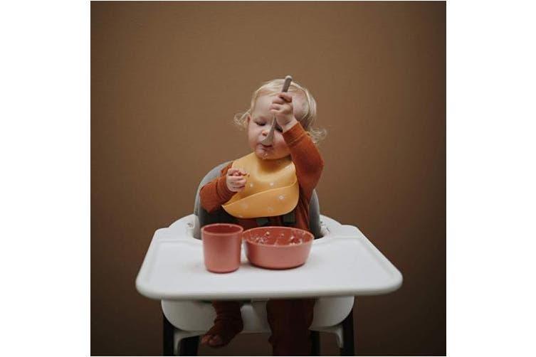(Numbers Black) - mushie Silicone Baby Bib | Adjustable Fit Waterproof Bibs (Numbers Black)