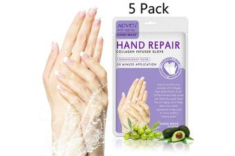 (5 Pairs Hand mask) - 5 Pairs Hands Moisturising Gloves, Hand Skin Repair Renew Mask w/Infused Collagen, Vitamins + Natural Plant Extracts for Dry, Ageing, Cracked Hands Intense Skin Nutrition Hand Cream Mask