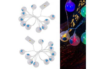 Apipi 20Pcs LED Halloween String Lights- Halloween Eyeball String Lamp for Indoor Outdoor Halloween Party Garden Yard Decoration (2 Strings)