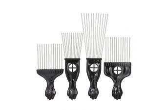 (Type 5) - Afro Hair Comb,Anself 4pcs Metal Comb Set African Hair Style Curlys Suit Steel Needle Hairdressing Tools Black