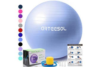 (45 cm, Sky Blue) - arteesol Exercise Yoga Ball, Extra Thick Stability Balance Ball (45-85cm), Professional Grade Anti Burst & Slip Resistant Balance, Fitness & Physical Therapy, Birthing Ball with Air Pump