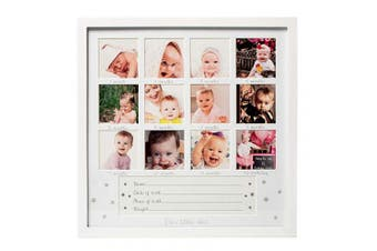 1Dino My First Year Baby Keepsake Picture Frame - 34cm x 34cm White Wood Baby Frame Hold 12 Months Photo Inserts - Newborn Baby Registry, Shower Gift for Boys and Girls, Wall or Desk Nursery Decor