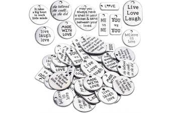 (TYPE3) - BronaGrand 40pcs Mixed Inspiration Words Charms Beads Charm Message Pendants for DIY Jewellery Making Choker Necklace Bracelet(Antique Silver)