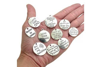 (TYPE1) - BronaGrand 10PCS 10 Words Antique Silver Charms Pendants for DIY Jewellery or Crafts