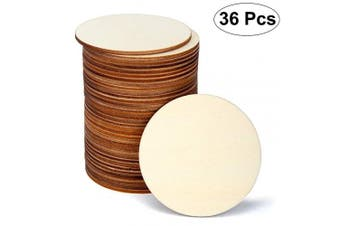 (7.6cm ) - Blisstime 36 Pieces 7.6cm Unfinished Wood Circles Round Wooden Slices Wood Drink Coasters Blank Wood Crafts for Painting, Writing, DIY Supplies, Engraving and Carving, Home Decorations