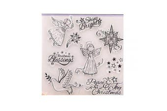 Merry Christmas Flying Angles Shine Bright Peace Joy Christmas Stamps Rubber Clear Stamp/Seal Scrapbook/Photo Album Decorative Card Making Clear Stamps
