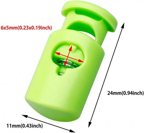 20 PCS, Green Plastic Cord Locks End Spring Stop Toggle Stoppers Multi-Colour
