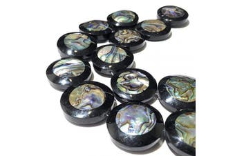 (Coin Shape) - [ABCgems] New Zealand Abalone AKA Rainbow Paua (Front & Back Inlaid with Beautiful Black Resin) 28mm Smooth Coin Beads for Jewellery Making (7 Beads Wholesale Lot)