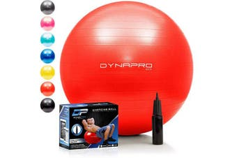 (65 Centimetres, Red) - DYNAPRO Exercise Ball - 910kg Stability Ball - Professional Grade – Anti Burst Exercise Equipment for Home, Balance, Gym, Core Strength, Yoga, Fitness, Desk Chairs