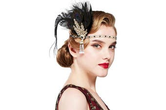 (Peacock Black) - Coucoland 1920s Peacock Feather Headband Gatsby Crystal Headpiece Vintage Feather Hairband Leaves Style for Art Deco Pageant Themed Party (Peacock Black)