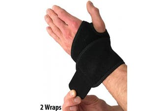 (Fits Most) - Wrist Wraps for Wrist Support – Wrist Compression Straps with Thumb Hole for Wrist Tendonitis, Arthritis & Carpal Tunnel. Alternative to a Wrist Brace or Wrist Splint. Left or Right Hands (2 Wraps)