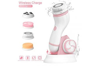 (Pink) - Gackoko Facial Cleansing Brush- with advance Latest Ion Technology & 4 Brush Heads for chargeable Electric Rotating Face brush -Awaken skin vitality for Deep Cleansing, Exfoliating ,Blackhead (Pink)