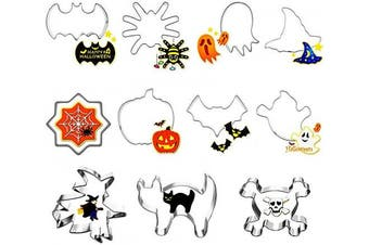 (Halloween Cutter 11pcs) - Halloween Cookie Cutters Set, 11 Piece Biscuit/Fondant/Pastry Cookie Cutter - Pumpkin Skull Ghost Cat Bat Witch's Hat Spider Shape Cutter for Kids Halloween Party Decorations- Stainless Steel
