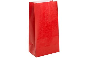 (12, Paper Party Bags, Red) - Unique Party 59003 - Ruby Red Paper Party Bags, Pack of 12