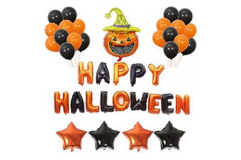 Halloween Balloons BESTZY 27 Pcs Latex Balloons Halloween Foil Balloon Happy Halloween Banner for Halloween Holiday Party Hanging Decoration Party Supplies
