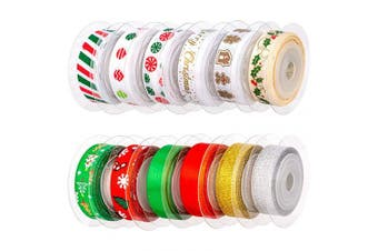 AIEX 12Pcs Christmas Ribbon, Satin Ribbons for Crafts Decorations, Xmas Ribbon Set for Christmas Gift Box Wrapping, Sewing, Hair Banding, Wedding, DIY Crafts (12 Colours, 60 Yards 1cm )