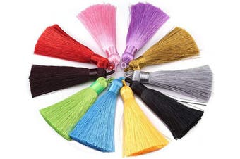 (mix) - 20pcs Colourful Silk Tassels Handmade Soft Craft Tassels with Hanging Loop for Jewellery Making 3.4''(8.5cm)