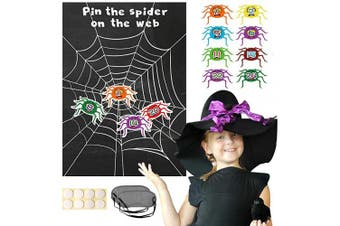 Konsait Pin The Spider on The Web Reusable Halloween Holiday Party Games with Blindfold Pin Game Spider Web Poster Halloween Party Favour Supplies for Kids Girls Boys