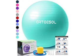 (45 cm, Ocean Blue) - arteesol Exercise Yoga Ball, Extra Thick Stability Balance Ball (45-85cm), Professional Grade Anti Burst & Slip Resistant Balance, Fitness & Physical Therapy, Birthing Ball with Air Pump