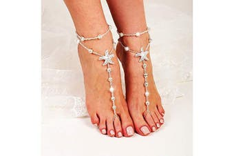 Artmiss Bridal Starfish Barefoot Sandals Women Beaded Layered Bracelets Anklet Rhinestones Foot Chain Jewellery for Girls 2PCS