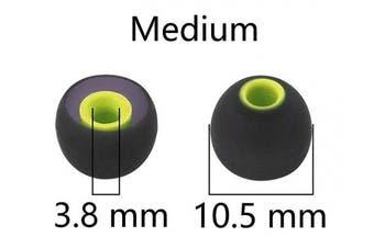(Medium, Black-Green) - BLLQ 12PCS Medium Size Replacement Eartips Eargels Earpads Ear Tips Gels Bud for Powerbeats Pro, BeatsX, Senso, TOZO, Sony & Other Inner Hole 3.8mm Earbud in-Ear Headphones,Black-Green,M