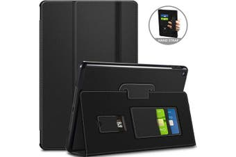 (Black) - ANVASK Case for iPad 26cm 2019 - Ultra Slim Smart Protective Case with Auto Sleep/Wake Up Function, Premium PU Leather Case with Stand and Card Slots, Black