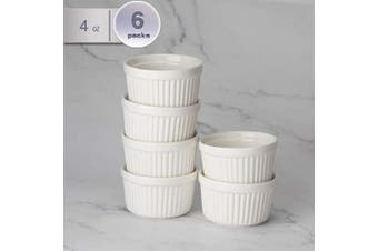 (120mls, White) - amHomel Porcelain Souffle Dishes Ramekins Bakeware Set, 120ml Baking Cups Creme Brulee and Ice Cream, Set of 6, White