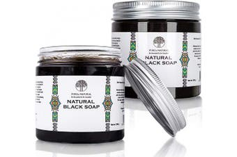 Pure'n Natural Moroccan African Black Soap with Olive Oil - Extreme softness and exfoliation in one product - 2 x 200 gr