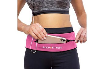 (Hot Pink) - Build & Fitness Zipper Running Belt, Adjustable Waist with Key Clip - Fits Fuel GU's, iPhone 7,8 Plus,XS,11,Pro, Samsung S8,S9,S10 - for Men, Women, Runners, Jogging, Gym, Yoga, Workout, Sports