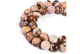 "(6mm 60Beads, Brown Zebra) - Nancybeads Natural Gemstone Round Spacer Loose Beads 1 Strand 15.5"" (6mm 60Beads, Brown Zebra)"