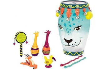 (Blue Drum) - B. Toys - B. Jungle Jam - Toddler Educational & Musical Percussion for Kids & Children Instruments Set 9 Pcs – with Tambourine, Maracas, Slide Whistle & More
