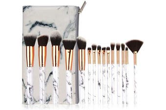 IWILCS Makeup Brush Set, Marble Pattern Professional Makeup Brush Set with Marble Cosmetic Bag,15PCS