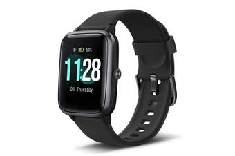 (Black) - LETSCOM Smart Watch Fitness Tracker Heart Rate Monitor Step Calorie Counter Sleep Monitor Music Control 5ATM Water Resistant 3.3cm Colour Touch Screen Activity Tracking Pedometer for Women Men Kids