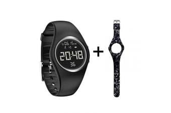 (Black) - mijiaowatch Fitness Tracker, Smart Watch Non-Bluetooth, Pedometer Smart Bracelet with Timer Step Calories Counter Date Vibration Alarm for Sport Walking Kids Women Men