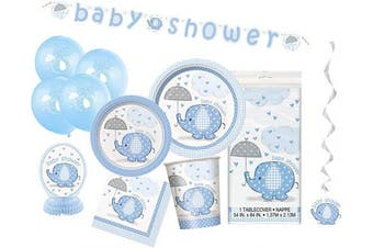 (Blue, Party Kit) - Unique Party 63790 - Blue Elephant Baby Shower Supplies Kit for 8